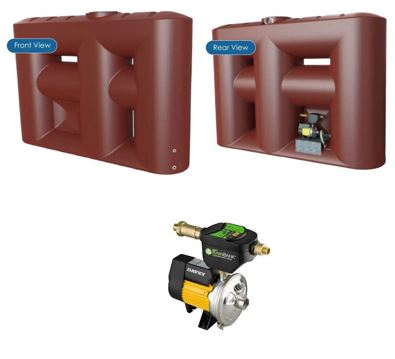 Kingston Water Tanks Package Melro 3060L Slimline with Davey Rainbank KRB1
